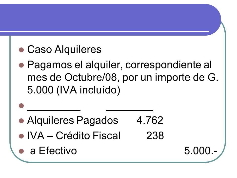 Caso Alquileres Pagamos el alquiler, correspondiente al mes de Octubre/08, por un importe de G. 5.000 (IVA incluído)
