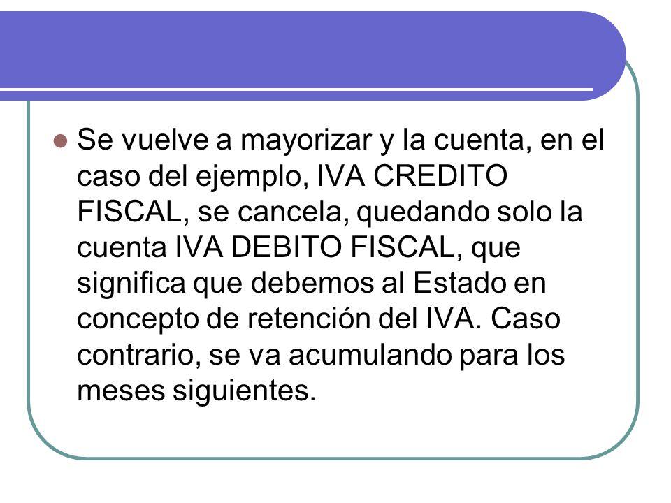 Se vuelve a mayorizar y la cuenta, en el caso del ejemplo, IVA CREDITO FISCAL, se cancela, quedando solo la cuenta IVA DEBITO FISCAL, que significa que debemos al Estado en concepto de retención del IVA.