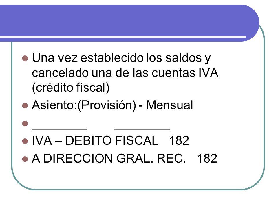 Una vez establecido los saldos y cancelado una de las cuentas IVA (crédito fiscal)