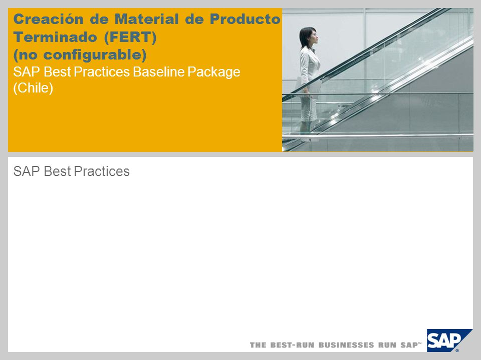 Creación de Material de Producto Terminado (FERT) (no configurable) SAP Best Practices Baseline Package (Chile)