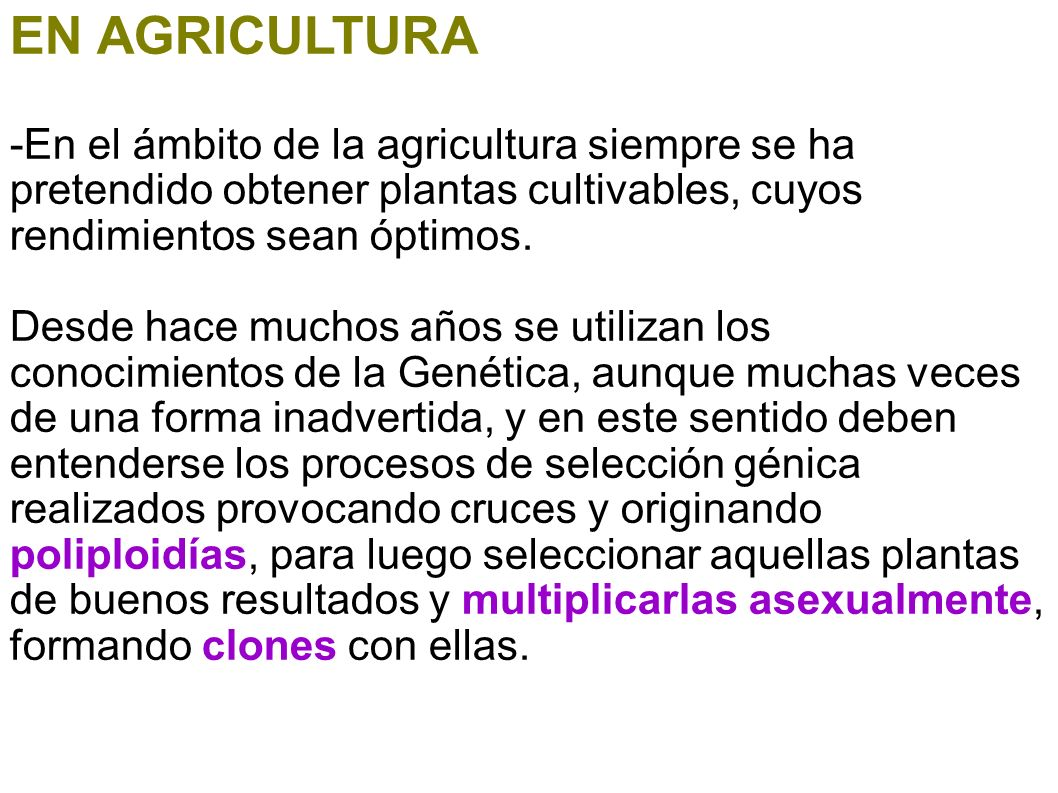 EN AGRICULTURA -En el ámbito de la agricultura siempre se ha pretendido obtener plantas cultivables, cuyos rendimientos sean óptimos.