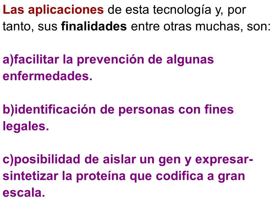 Las aplicaciones de esta tecnología y, por tanto, sus finalidades entre otras muchas, son:
