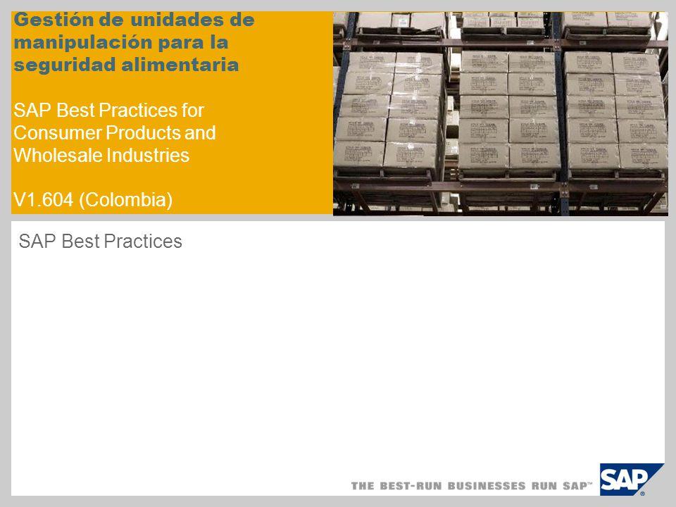Gestión de unidades de manipulación para la seguridad alimentaria SAP Best Practices for Consumer Products and Wholesale Industries V1.604 (Colombia)