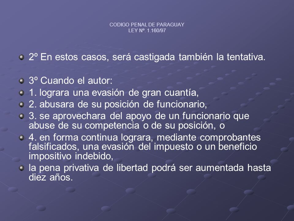 CODIGO PENAL DE PARAGUAY LEY Nº. 1.160/97