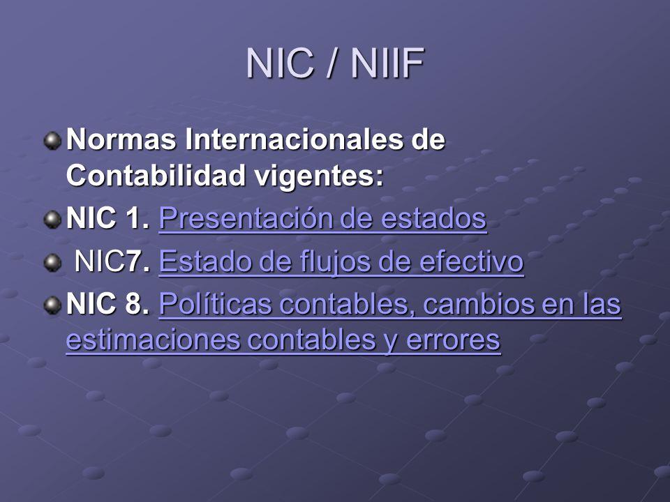NIC / NIIF Normas Internacionales de Contabilidad vigentes:
