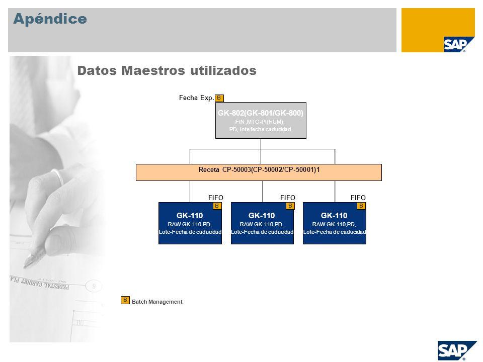 Apéndice Datos Maestros utilizados GK-802(GK-801/GK-800) GK-110 GK-110