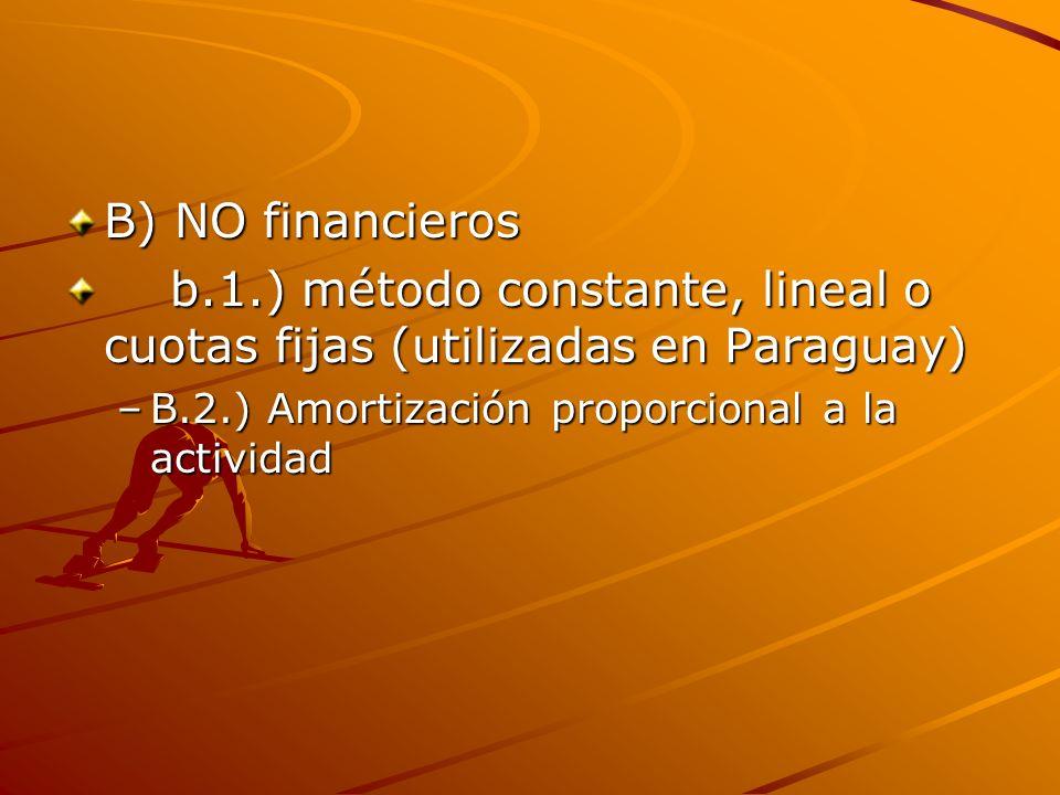 b.1.) método constante, lineal o cuotas fijas (utilizadas en Paraguay)