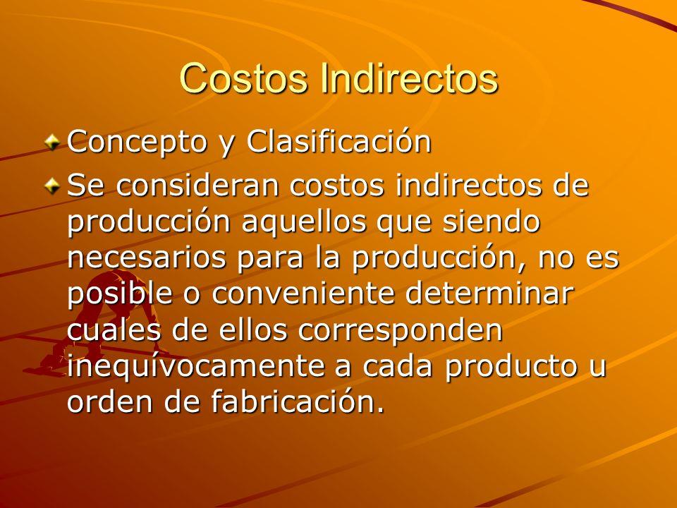 Costos Indirectos Concepto y Clasificación