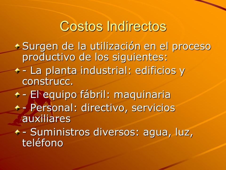 Costos Indirectos Surgen de la utilización en el proceso productivo de los siguientes: - La planta industrial: edificios y construcc.