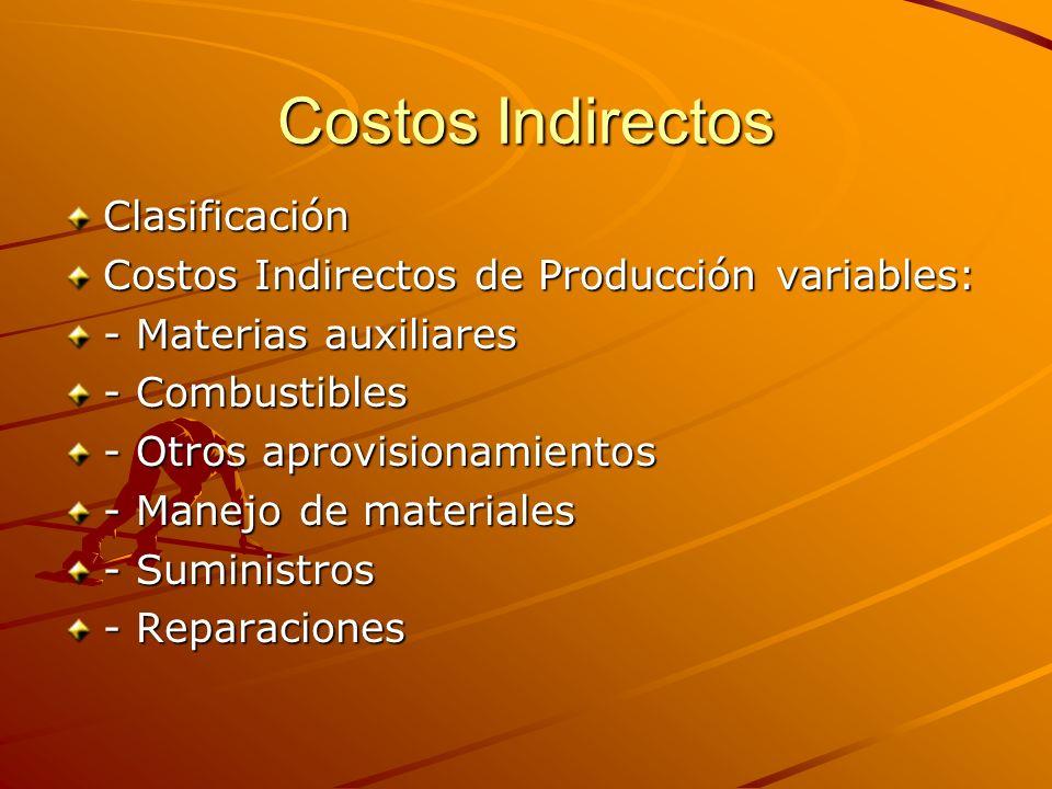 Costos Indirectos Clasificación