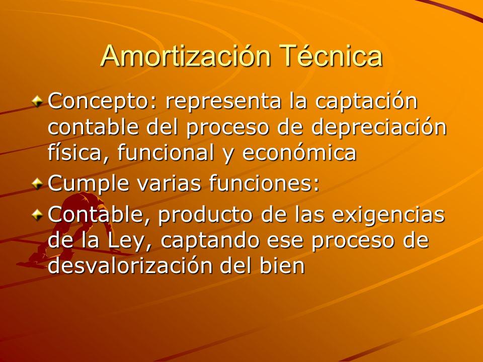 Amortización Técnica Concepto: representa la captación contable del proceso de depreciación física, funcional y económica.