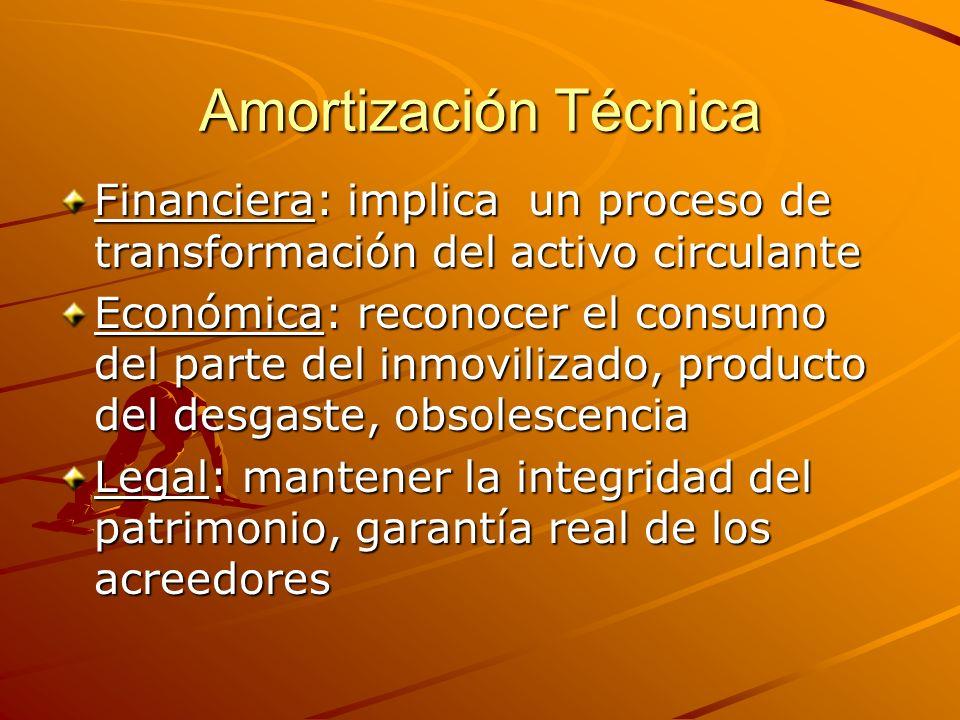 Amortización Técnica Financiera: implica un proceso de transformación del activo circulante.