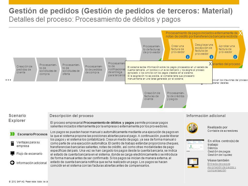 Gestión de pedidos (Gestión de pedidos de terceros: Material) Detalles del proceso: Procesamiento de débitos y pagos