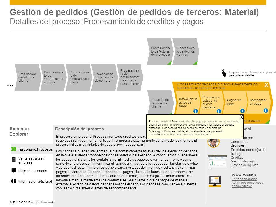 Gestión de pedidos (Gestión de pedidos de terceros: Material) Detalles del proceso: Procesamiento de creditos y pagos