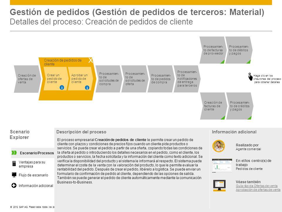 Gestión de pedidos (Gestión de pedidos de terceros: Material) Detalles del proceso: Creación de pedidos de cliente