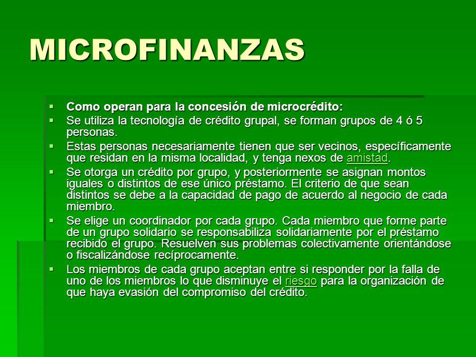 MICROFINANZAS Como operan para la concesión de microcrédito: