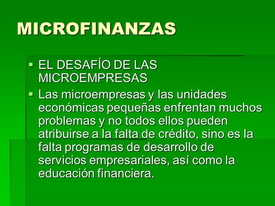 MICROFINANZAS EL DESAFÍO DE LAS MICROEMPRESAS