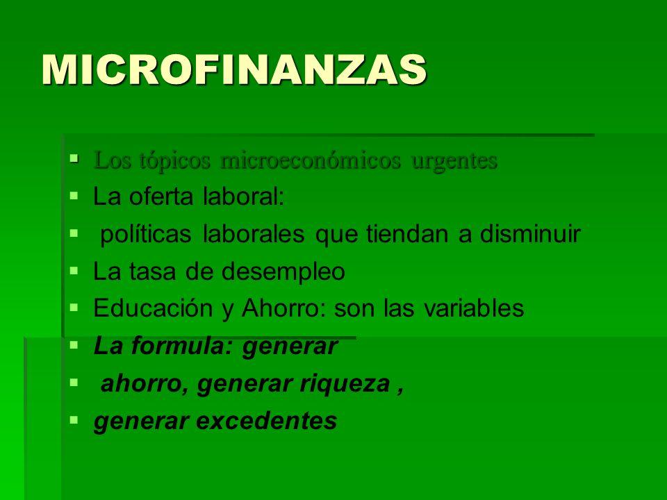 MICROFINANZAS Los tópicos microeconómicos urgentes La oferta laboral: