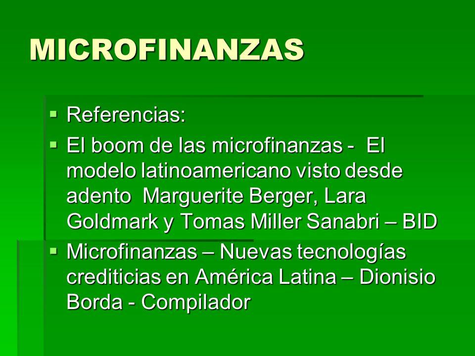 MICROFINANZAS Referencias: