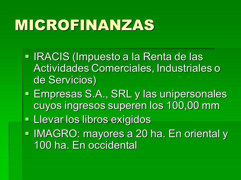 MICROFINANZAS IRACIS (Impuesto a la Renta de las Actividades Comerciales, Industriales o de Servicios)