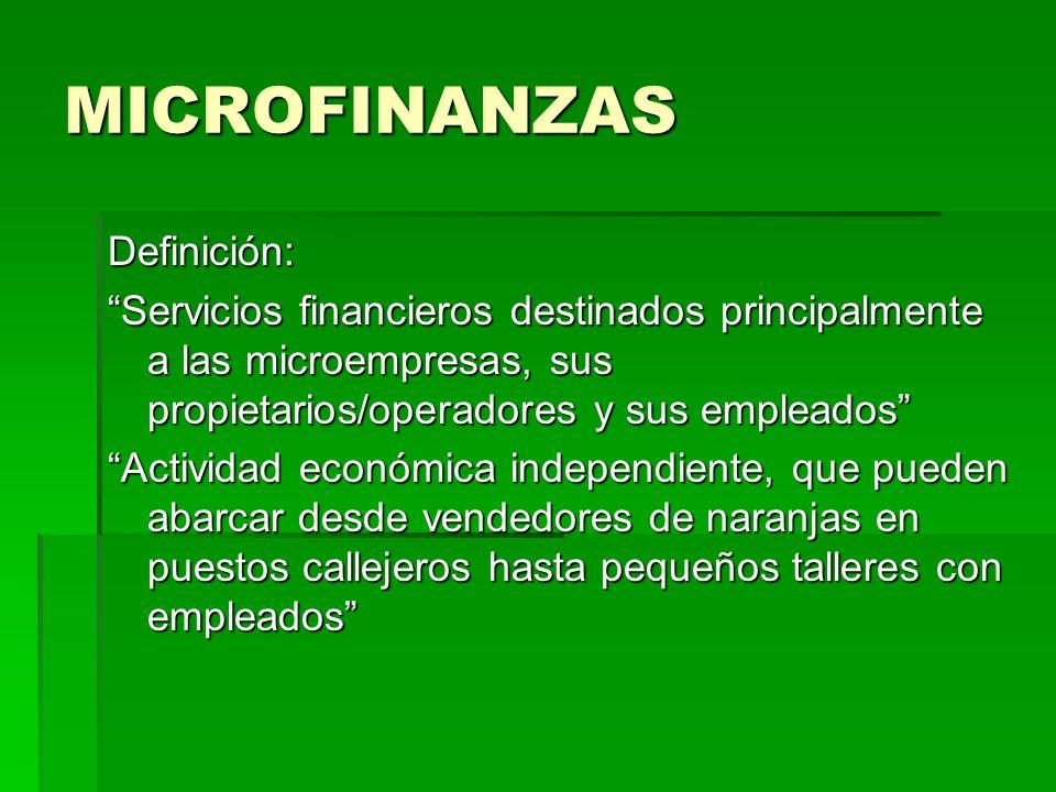 MICROFINANZAS Definición: