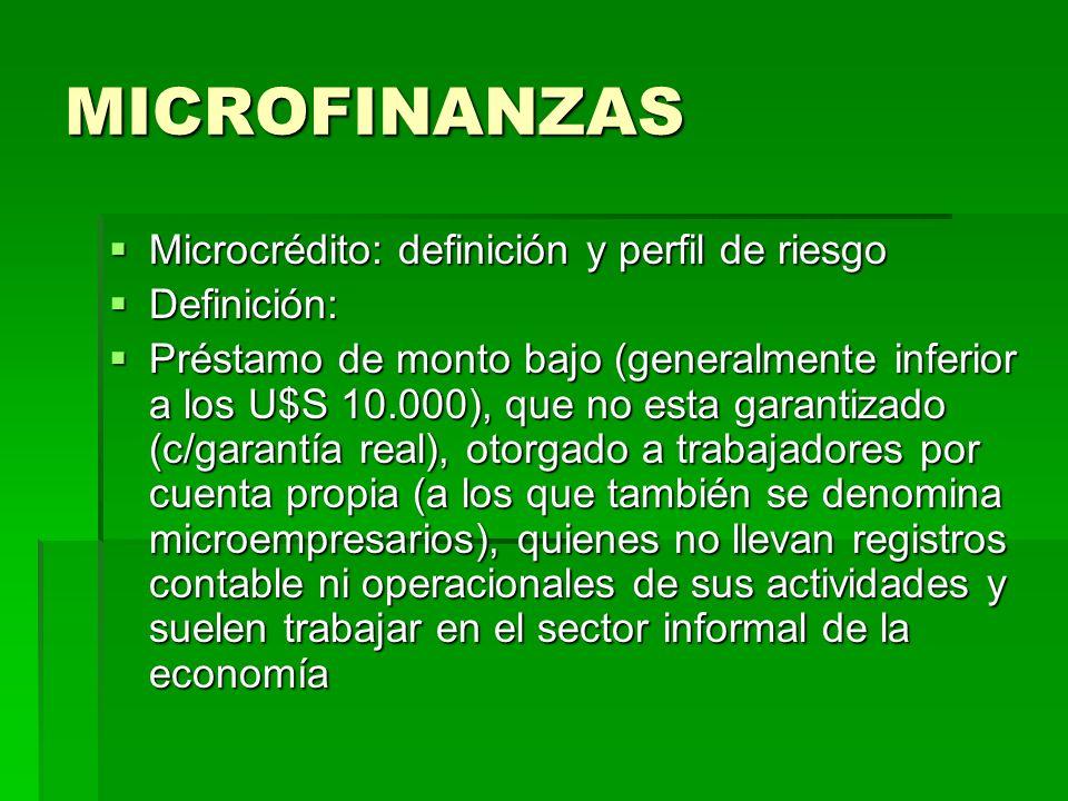 MICROFINANZAS Microcrédito: definición y perfil de riesgo Definición: