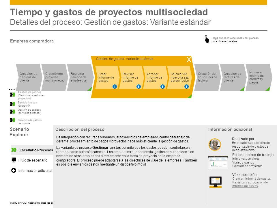 Tiempo y gastos de proyectos multisociedad Detalles del proceso: Gestión de gastos: Variante estándar