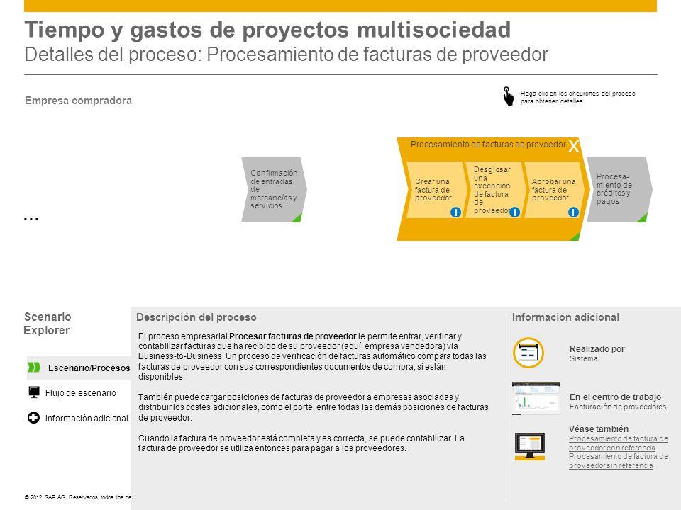 Tiempo y gastos de proyectos multisociedad Detalles del proceso: Procesamiento de facturas de proveedor