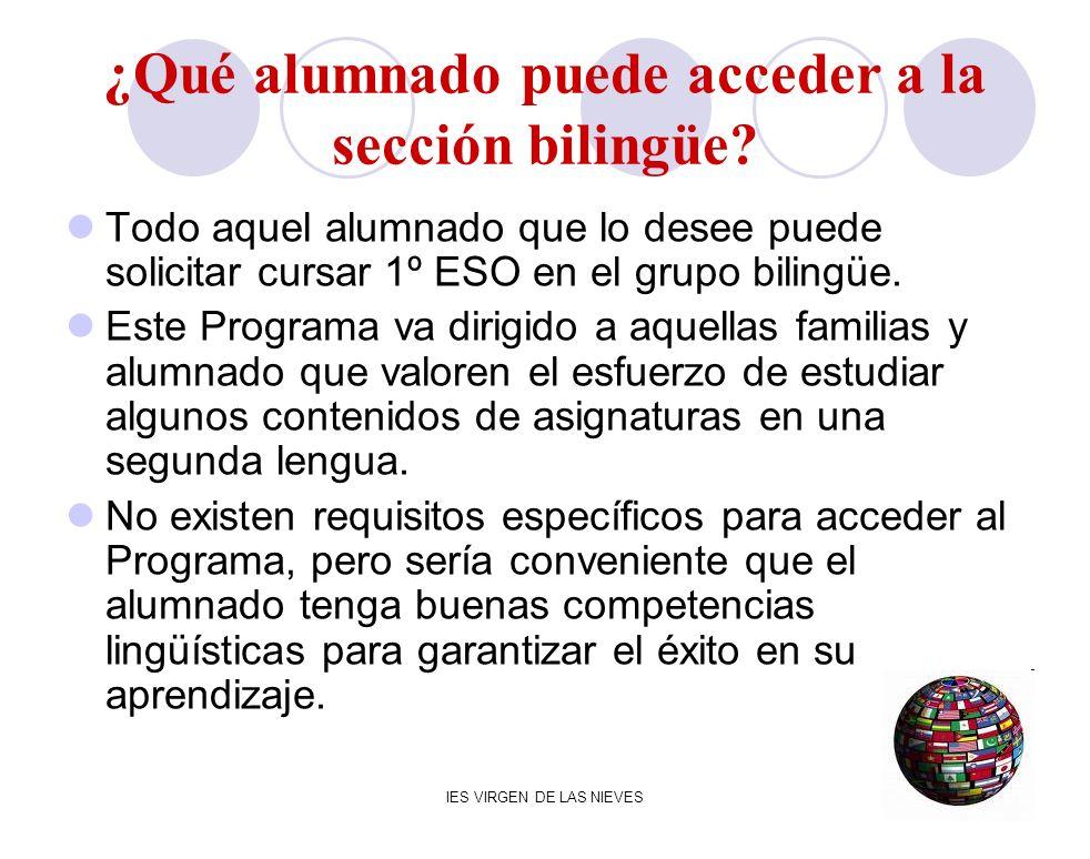 ¿Qué alumnado puede acceder a la sección bilingüe