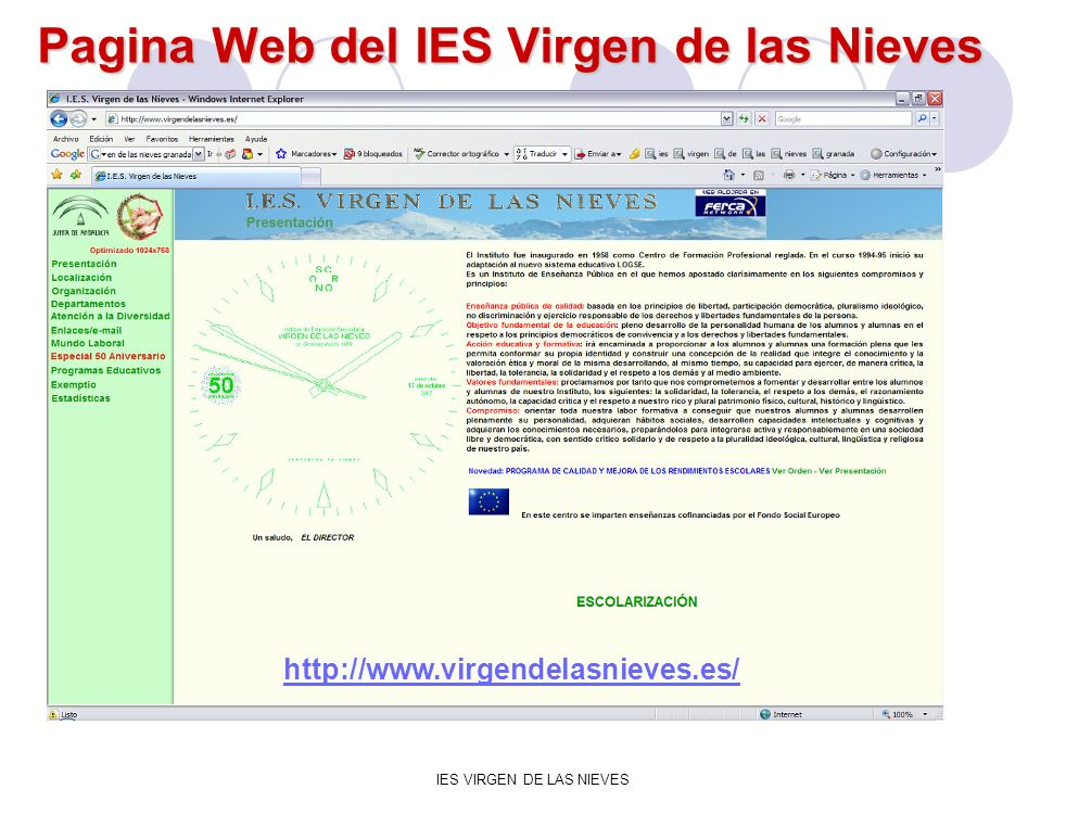 Pagina Web del IES Virgen de las Nieves