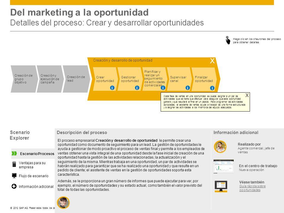 Del marketing a la oportunidad Detalles del proceso: Crear y desarrollar oportunidades