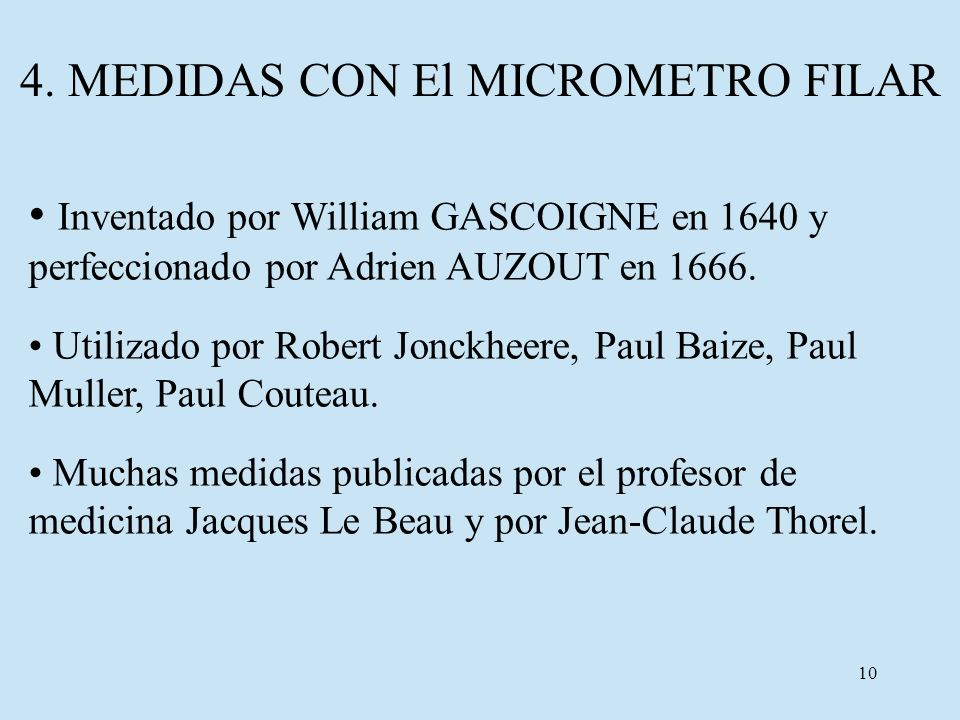 4. MEDIDAS CON El MICROMETRO FILAR