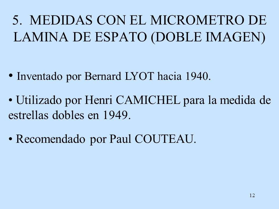 5. MEDIDAS CON EL MICROMETRO DE LAMINA DE ESPATO (DOBLE IMAGEN)