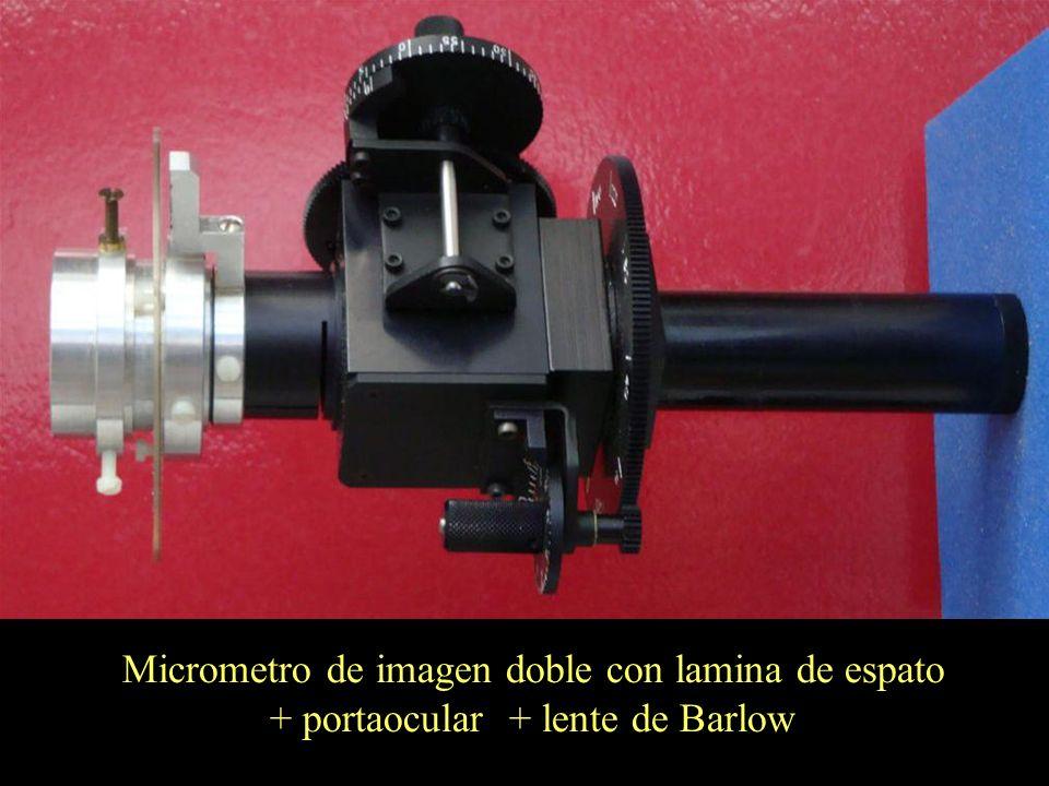 Micrometro de imagen doble con lamina de espato + portaocular + lente de Barlow