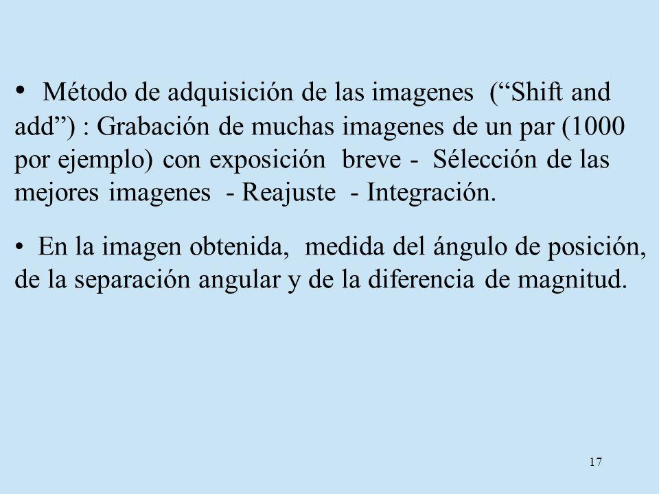 Método de adquisición de las imagenes ( Shift and add ) : Grabación de muchas imagenes de un par (1000 por ejemplo) con exposición breve - Sélección de las mejores imagenes - Reajuste - Integración.