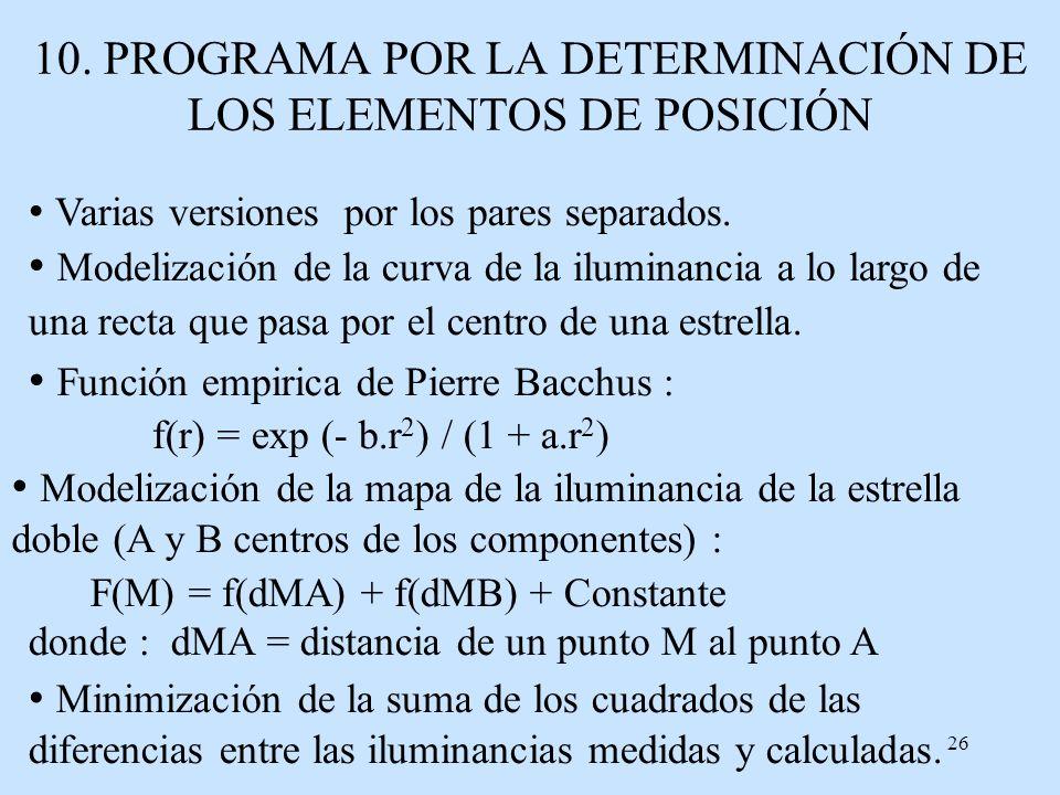 10. PROGRAMA POR LA DETERMINACIÓN DE LOS ELEMENTOS DE POSICIÓN