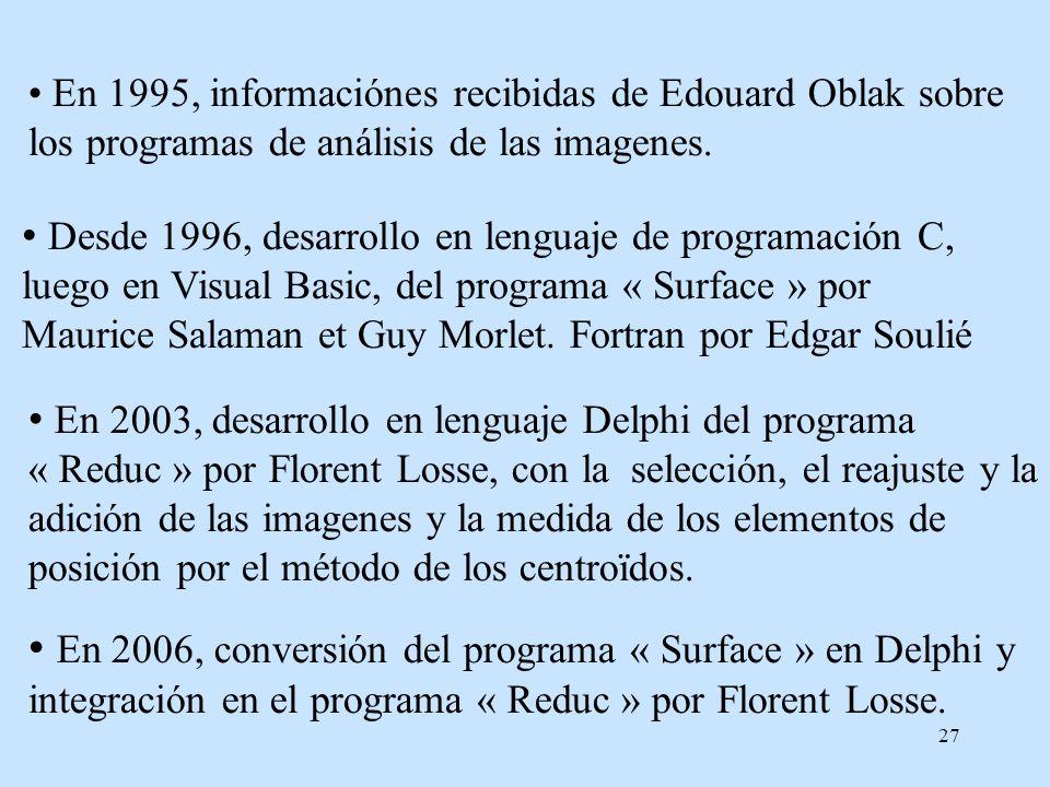 En 1995, informaciónes recibidas de Edouard Oblak sobre los programas de análisis de las imagenes.