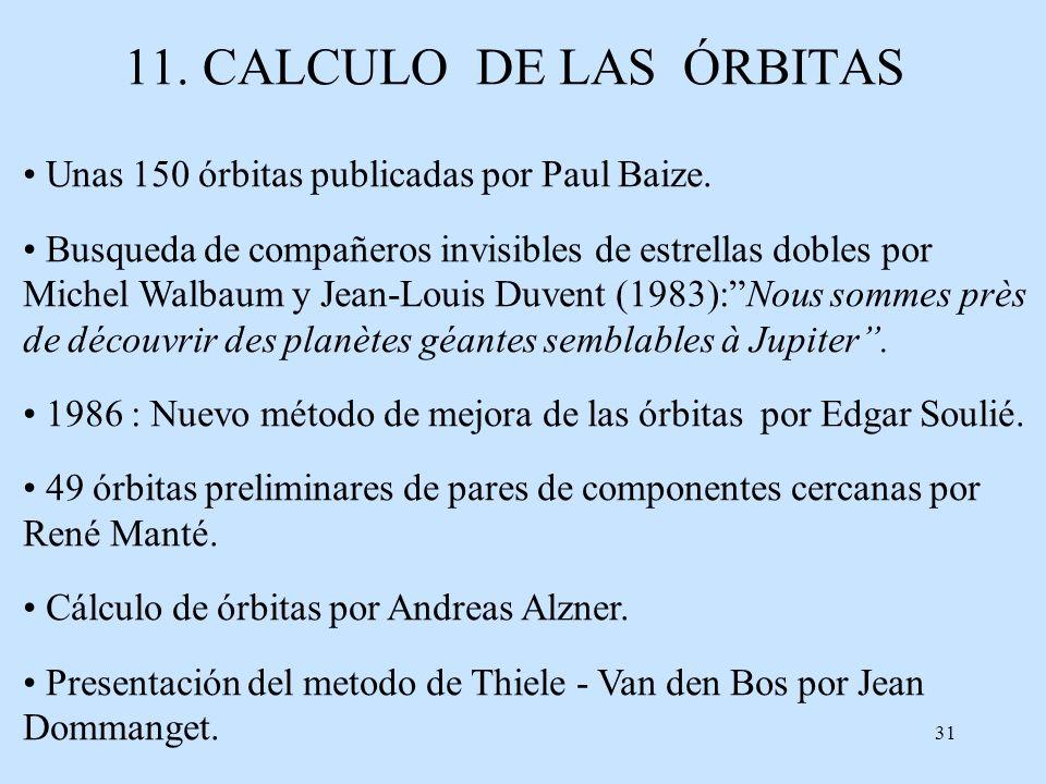 11. CALCULO DE LAS ÓRBITAS Unas 150 órbitas publicadas por Paul Baize.