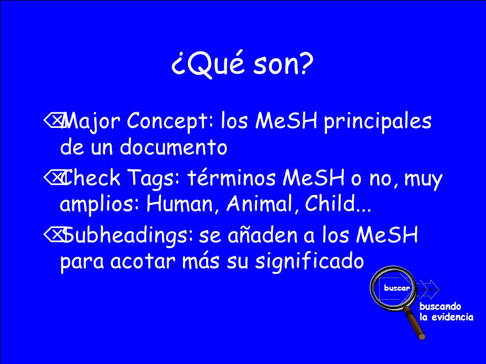 ¿Qué son Major Concept: los MeSH principales de un documento