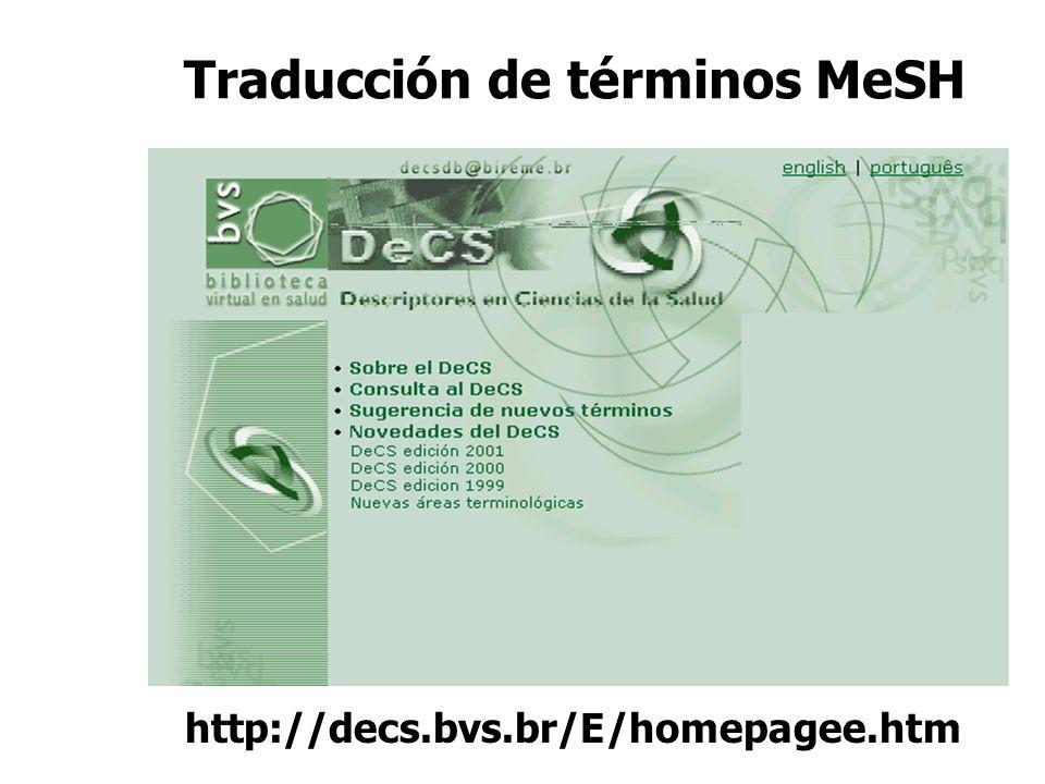 Traducción de términos MeSH