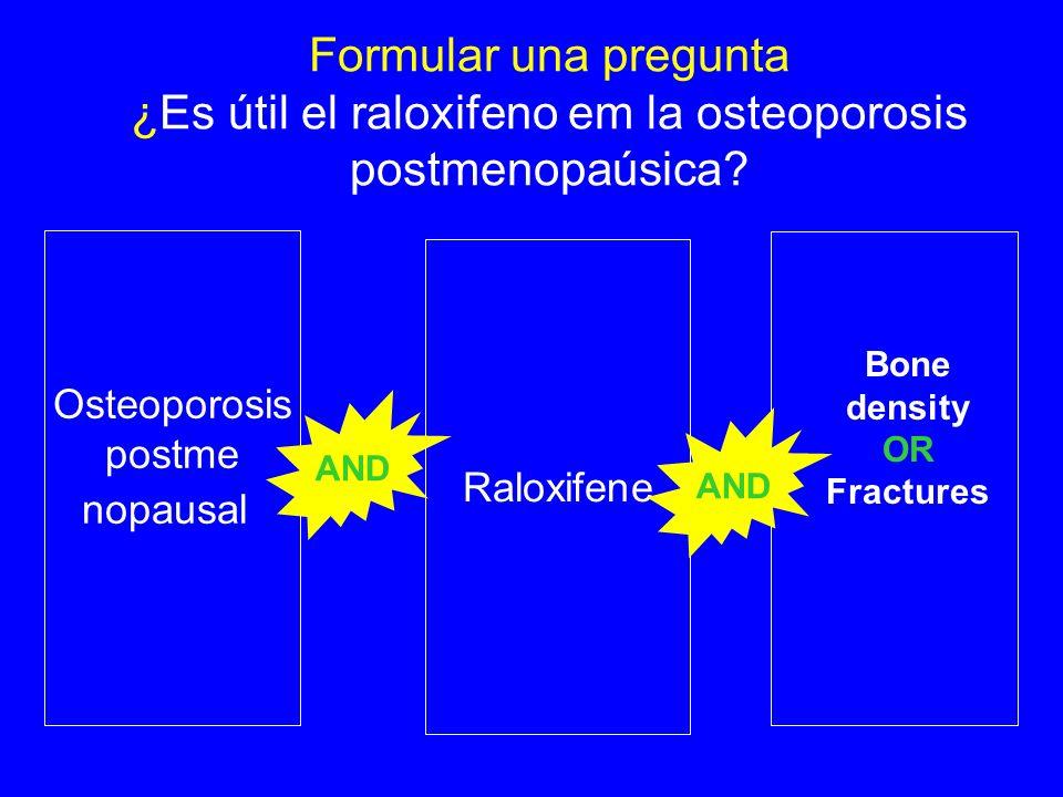 Formular una pregunta ¿Es útil el raloxifeno em la osteoporosis postmenopaúsica