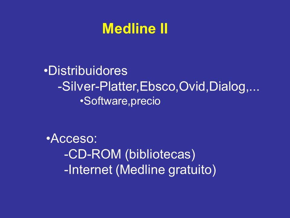 Medline II Distribuidores -Silver-Platter,Ebsco,Ovid,Dialog,...