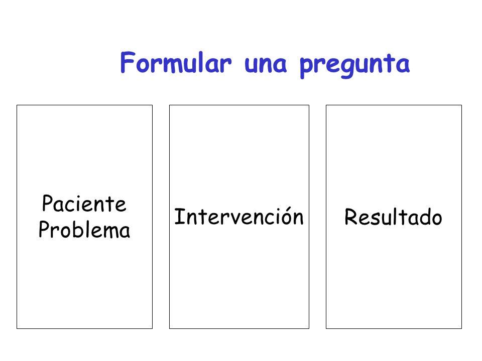 Formular una pregunta Paciente Problema Intervención Resultado