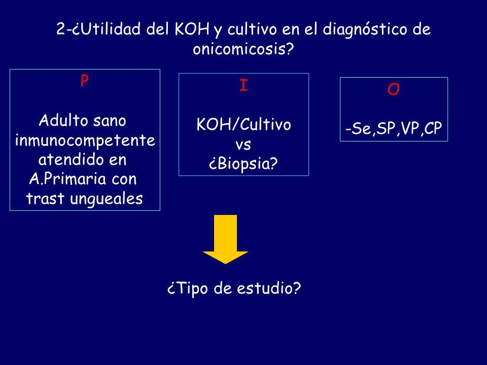 2-¿Utilidad del KOH y cultivo en el diagnóstico de onicomicosis