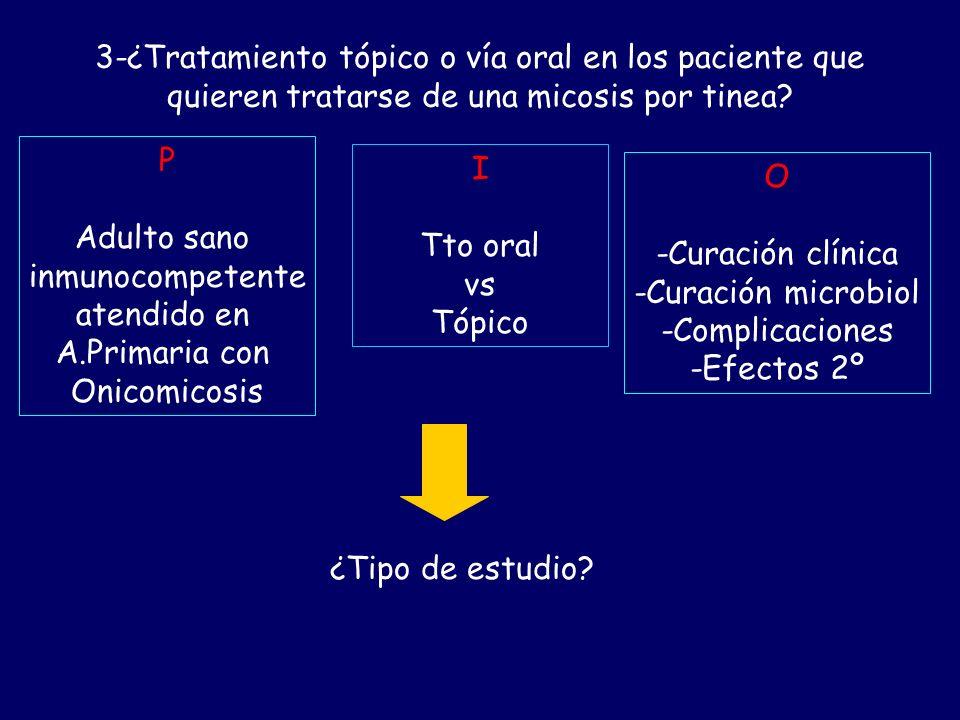 3-¿Tratamiento tópico o vía oral en los paciente que quieren tratarse de una micosis por tinea