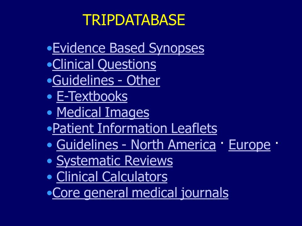 TRIPDATABASE Evidence Based Synopses Clinical Questions
