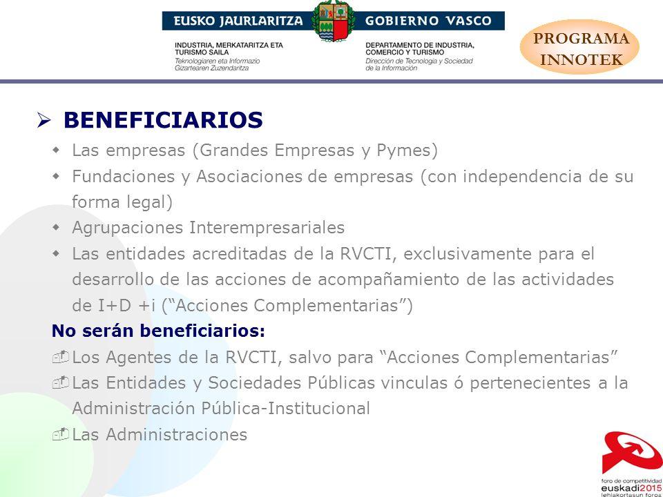 BENEFICIARIOS PROGRAMA INNOTEK Las empresas (Grandes Empresas y Pymes)