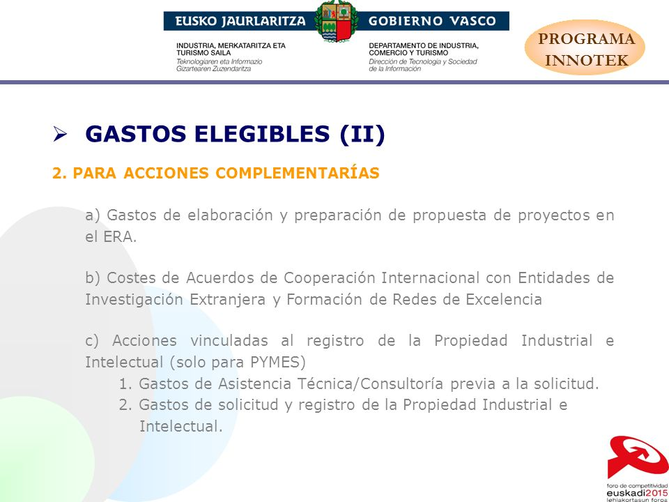 GASTOS ELEGIBLES (II) PROGRAMA INNOTEK