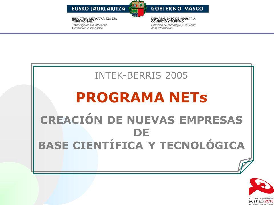 CREACIÓN DE NUEVAS EMPRESAS BASE CIENTÍFICA Y TECNOLÓGICA