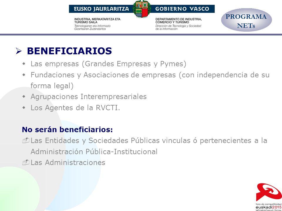BENEFICIARIOS PROGRAMA NETs Las empresas (Grandes Empresas y Pymes)